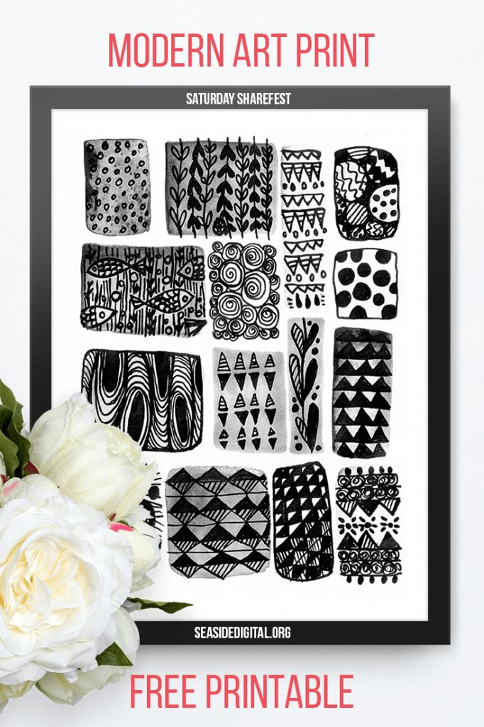 Modern Black and White Art Print (Free Printable)