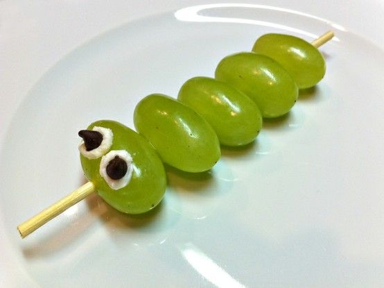 bug party food. caterpillar kabobs by angela