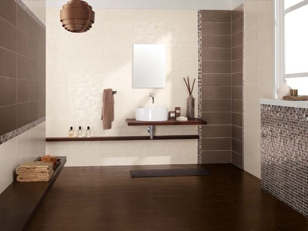 rivestimento da bagno brown con decoro jungle full ceramiche supergres