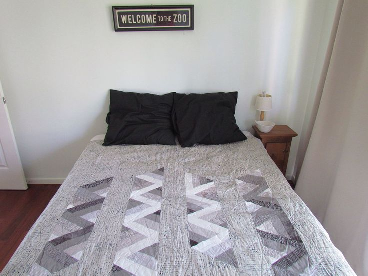 modern quilt in grey and white double bed quilt