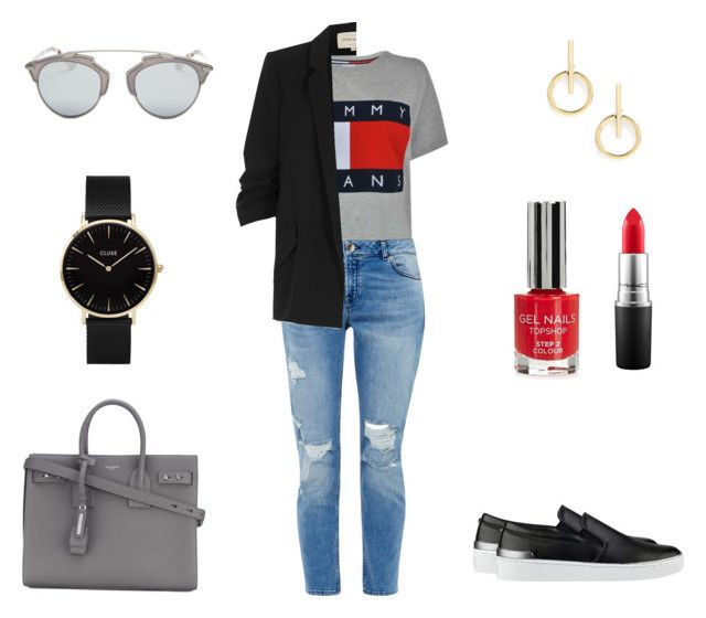 """""""Street style"""" by katyvalentine on Polyvore featuring Yves Saint Laurent, Tommy Hilfiger, Ted Baker, River Island, GUESS, Topshop, MAC Cosmetics, Christian Dior, CLUSE and Sole Society"""