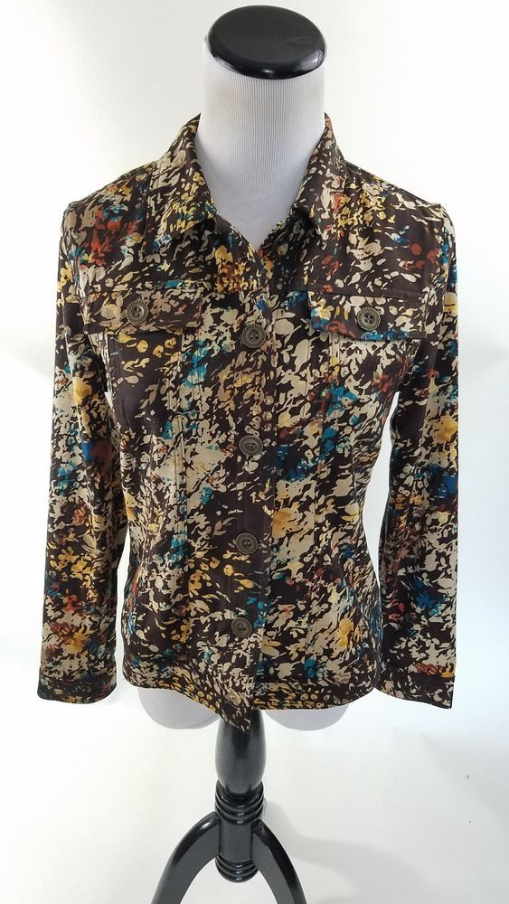 Christopher & Banks Womens Jacket Fall Brown Multi Color Size Small Petite Shirt #ChristopherBanks #ButtonDownShirt #Casual