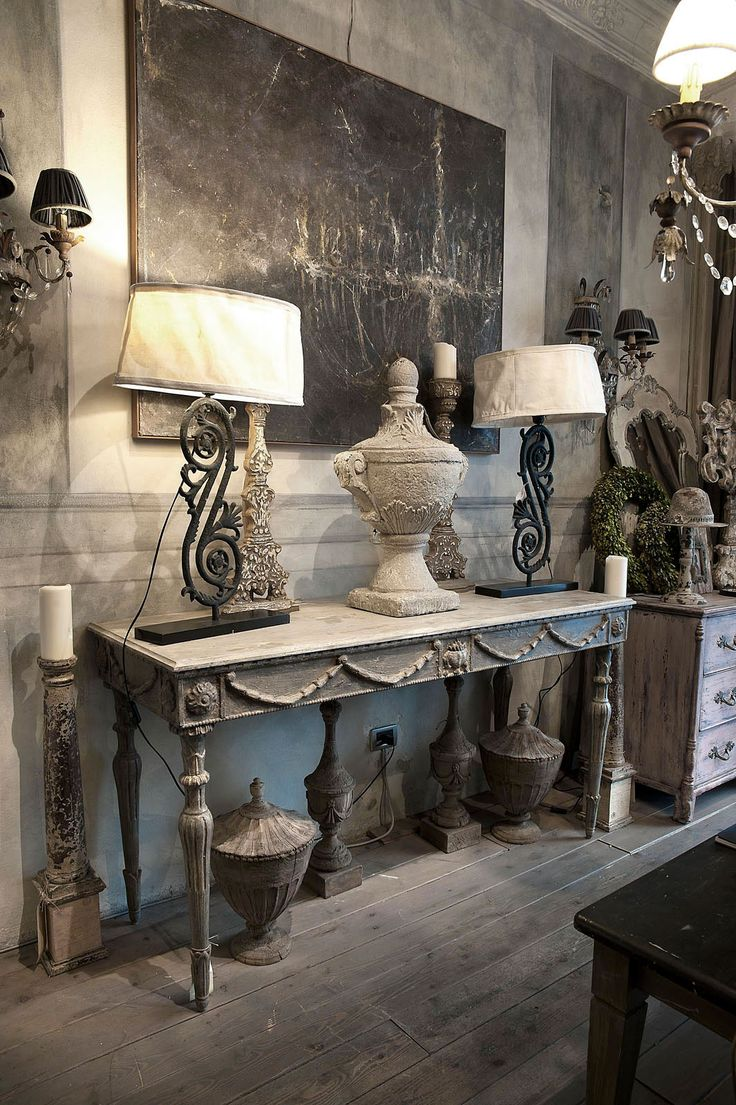 Vintage French soul ~ French grey and white decor, gorgeous French painted table