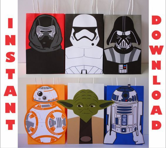 Printable DIY - Star Wars Favor Bags/ Birthday Party Favors/ Goodie/ Goody/ Treat/ Loot/ Candy/ Bags/ bag/ box/ boxes/ invite/ invitation/ cake topper/ cupcake toppers/ drink bottle label/ label/ sticker/ sticker/ decoration/ supplies/ fiesta/ festa/ cumpleaños/ piñata/ pinata/ balloons/ download bags/ backdrop/ centerpiece/ ideas/ free/ banner/ poster/ sign/ shirt/ onesie/ hat/ costume/ helmet/ hats/ masks/ yoda/ stormtrooper/ darth vader/ bb8/ r2d2/ Leia/ Kylo Ren/ starwars