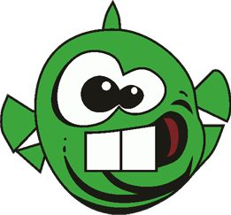 "The ""Dopefish"" from Commander Keen 4: Secret of the Oracle, a colorful platformer released for PC-DOS in 1991 by id Software / Apogee."