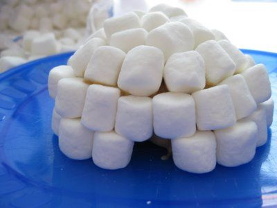 fuzz food: edible igloos made with apple half, marshmallows, honey or peanut butter