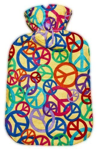 "Warm Tradition Peace Signs Cotton Flannel Hot Water Bottle Cover - COVER ONLY- Made in USA by Warm Tradition. $9.95. A soft and cuddly flannel cover that fits Warm Tradition's standard size and other standard size hot water bottles - 12 1/2"" x 7 1/2""- Helps hold heat in longer and protects your skin too! Wraps around the hot water bottle perfectly. Machine Washable. Made in the USA"