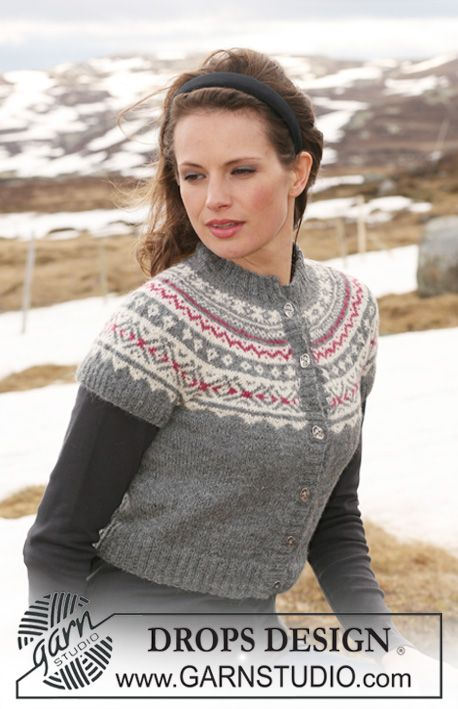 """Frozen Cherries - DROPS short jacket in """"Alpaca"""" with short round yoke and Norwegian pattern. Size XS to XXL. - Free pattern by DROPS Design"""