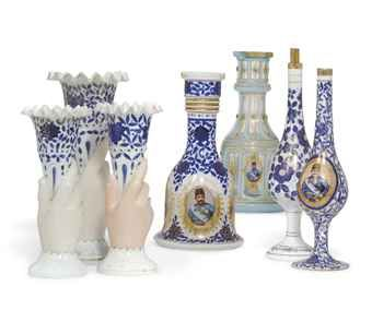 A PAIR OF BOHEMIAN GLASS HOOKAH BASES, TWO FURTHER HOOKAH BASES, A SET OF THREE GRADUATED BOHEMIAN BLUE AND WHITE GLASS VASES 19TH CENTURY  Price realised  GBP 4,375