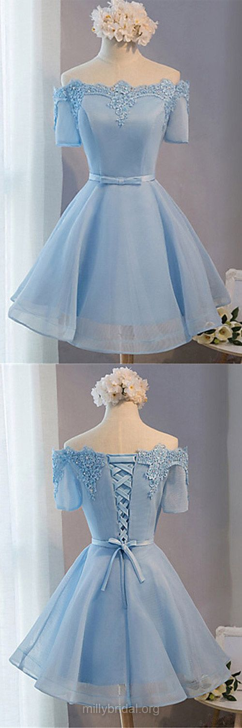 Blue Prom Dresses,A-line Off-the-shoulder Cocktail Dress,Satin Organza Short Club Party Dress, Sashes / Ribbons Cheap Homecoming Dresses