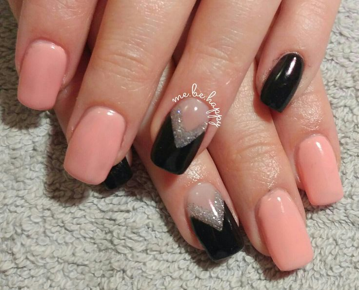 Acrylic extension with crazy salmon logik gel overlay with a pink, glitter and black accent inlay nail.
