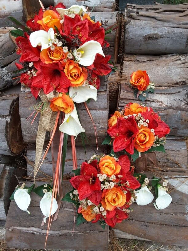 Orange roses, red lillies and calla lillie bouquets