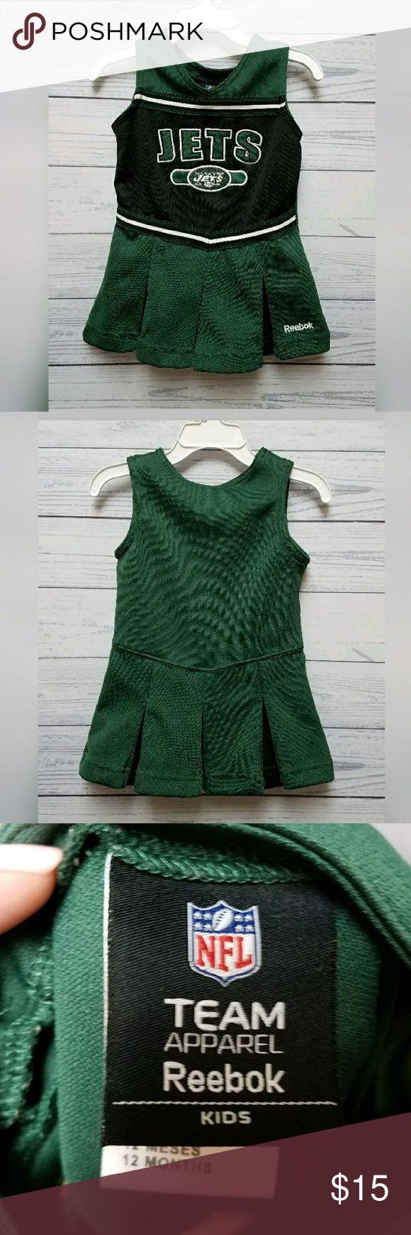 N.Y. Jets Cheerleader Dress - Size 12m Reebok N.Y. Jets Infant Cheerleader outfit. Size 12m. Excellent condition beside one minor flaw, see pic. Reebok Dresses