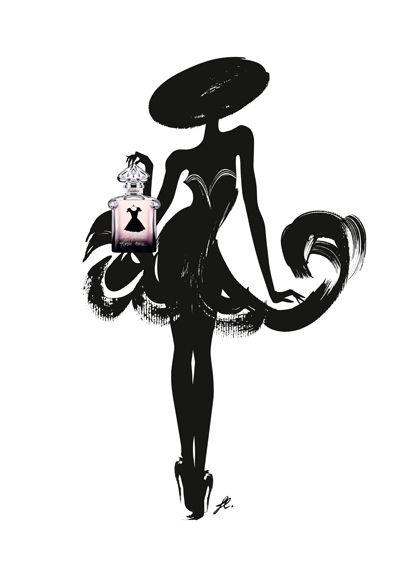 Illustrations for the new Guerlain perfume, La Petite Robe Noir, so chic!