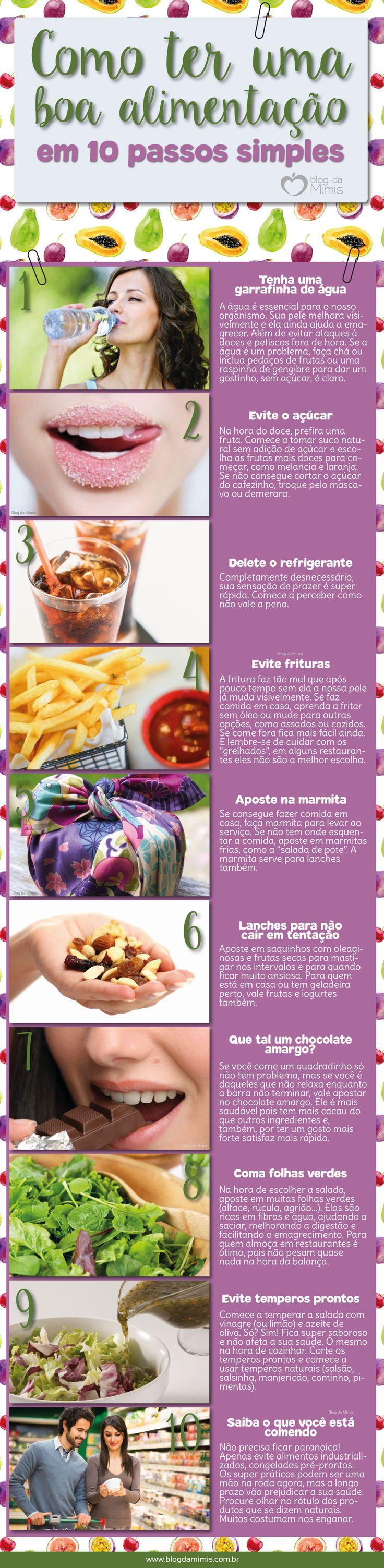 Como ter uma boa alimentação em 10 passos simples - Blog da Mimis #infográfico #blogdamimis #saúde #culinária #alimentação #emagrecer #dicas