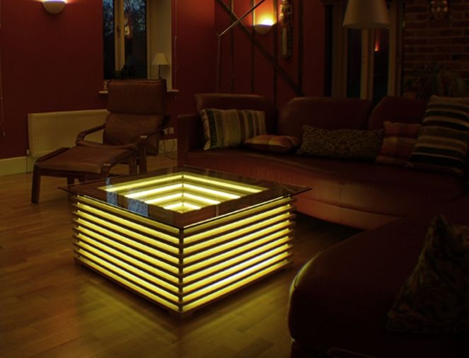 INTERIORS - Furniture - Sqill Illuminating Cable Free Coffee Table by David Chapman for Clay Designs