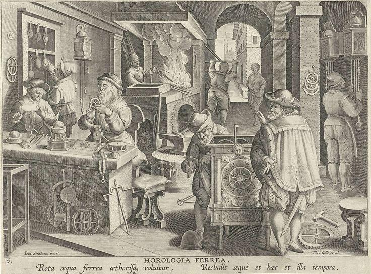 Philips Galle | Klokkenmakers, Philips Galle, c. 1589 - c. 1593 | Werkplaats waar uurwerken worden vervaardigd. Links twee klokkenmakers bezig aan een werkbank met het raderwerk. Middenvoor een klok met wijzerplaat. Op de achtergrond links wordt een oven gestookt; rechts hangen klokken aan de wand. De prent maakt deel uit van een negentiendelige serie over nieuwe uitvindingen en ontdekkingen.