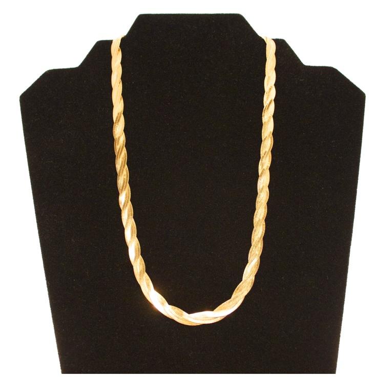 Herringbone Platinum: 20 Inch Braided Herringbone Necklace. Available At 24k
