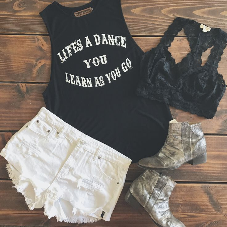Life's a Dance Tank + Moonshine Shorts + Lace Bralette licensetoboot.com
