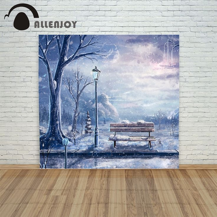 16.73$  Buy here - http://aliwvr.shopchina.info/go.php?t=32752605471 - Christmas backdrop background cloth Street light bench  snow xmas camera prop newborns funny merry 16.73$ #buyininternet