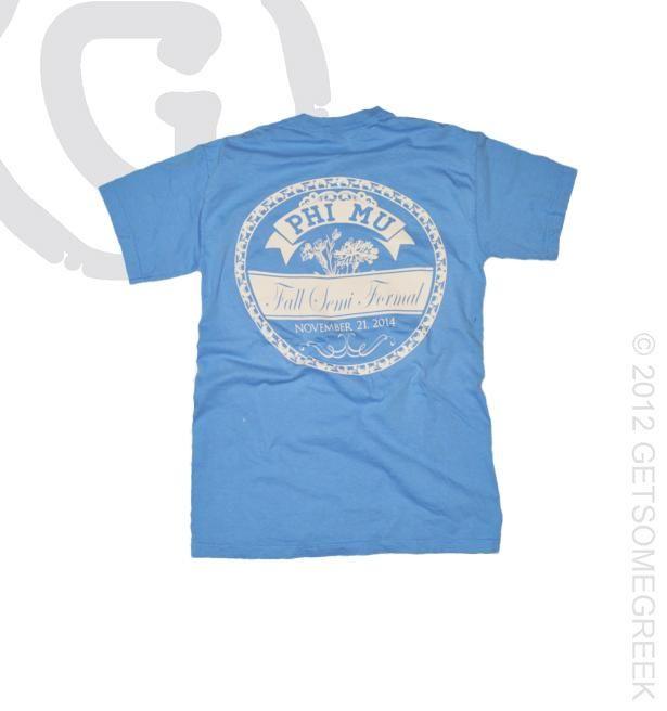 Phi Mu sorority formal shirts!! Pocket T-shirts!! GetSomeGreek & Phi Mu!! Carnations! Sorority shirts!