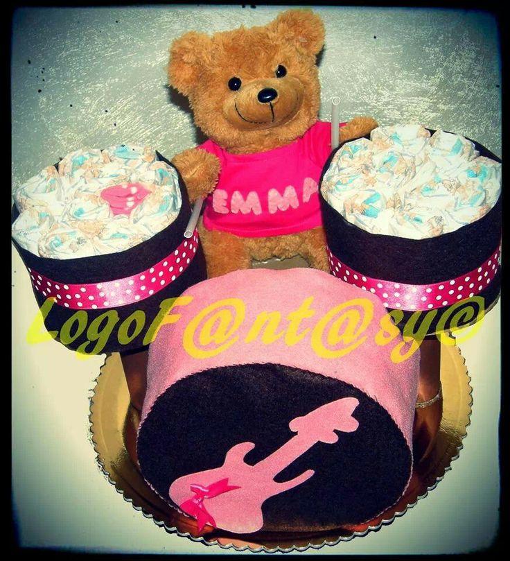Rock diaper cake, batteria, torta di pannolini, torta rock