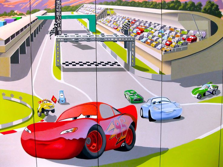 Lightning McQueen Wall Mural Painted On Wardrobe | Disney | Pinterest | Wall  Murals, Walls And Bedrooms Part 32