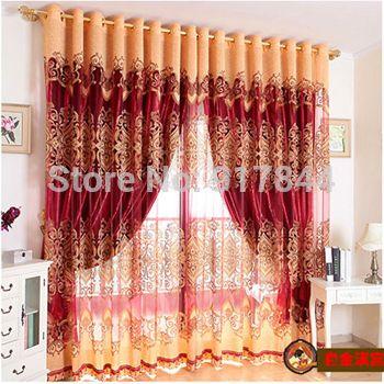Grátis frete C004 cortinas para sala de estar janela bordado cortinas Ready Made Blackout cortina e tule vermelho 100 * 270 cm(China (Mainland))