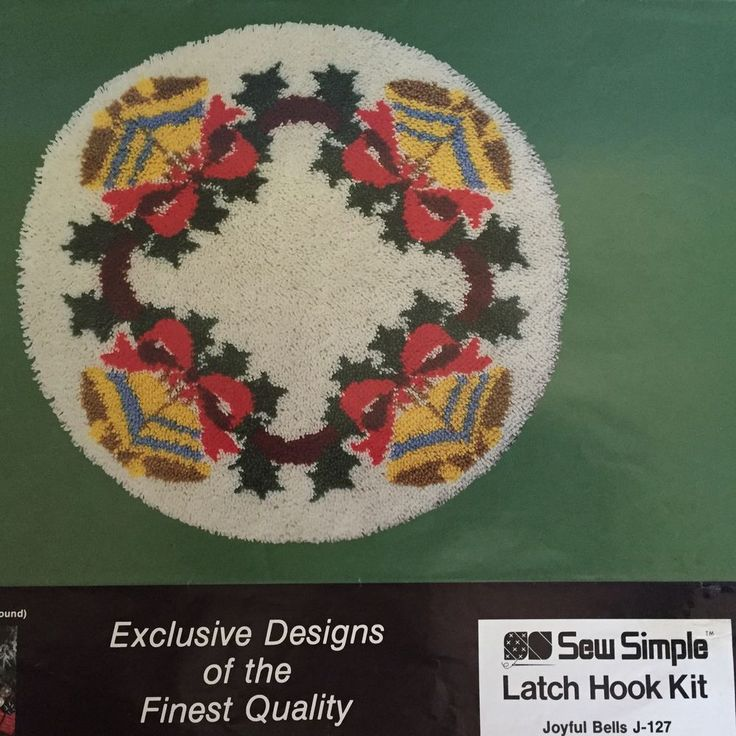 Joyful Bells Latch Hook Rug Kit Christmas Tree Skirt By Sew Simple 33 Inch SewSimple