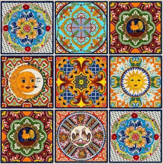 Designerstoffe USA - Kacheln, Sonne, Mond, Hahn,  BW, Stoff - ein Designerstück von ABC-Designerin bei DaWanda