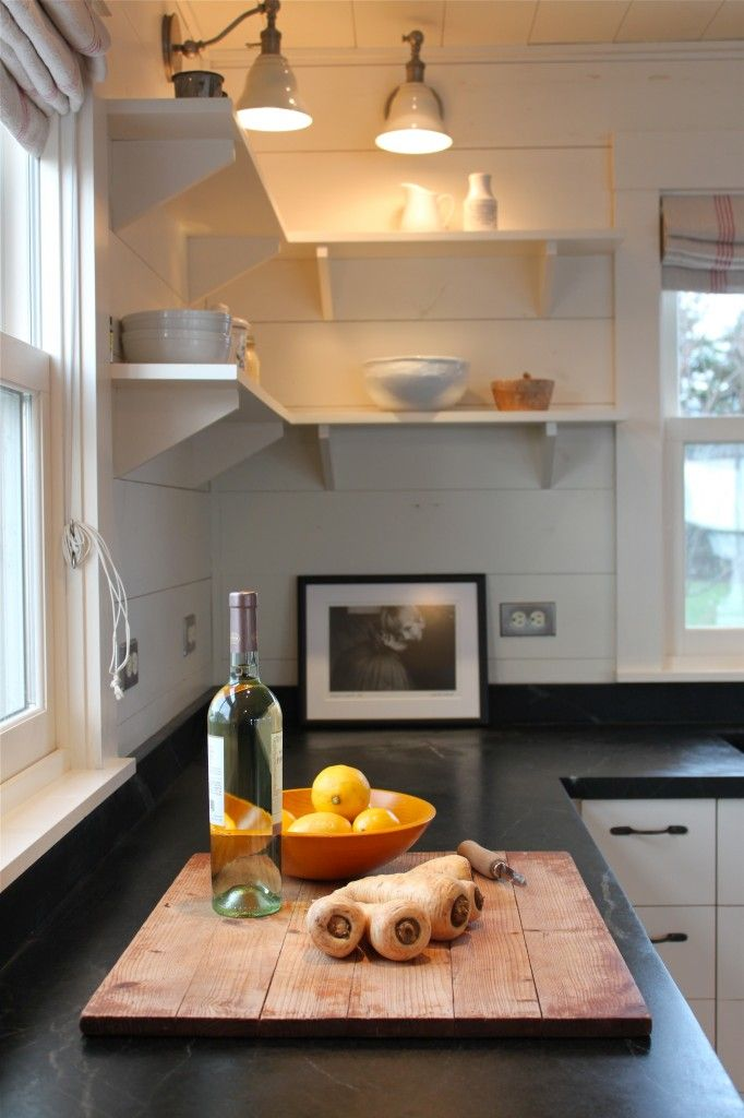 Love the open shelving in the kitchen, lights as well   kitchen counter, shelving brackets - Maine cottage by Sheila Narusawa architects