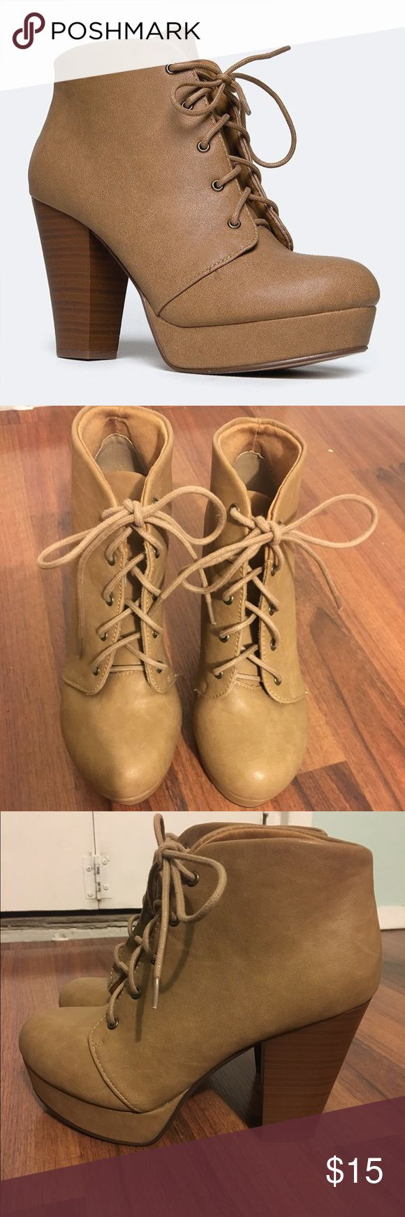 chunky high heel platform lace up booties worn a couple times but in good condition Shoes Lace Up Boots