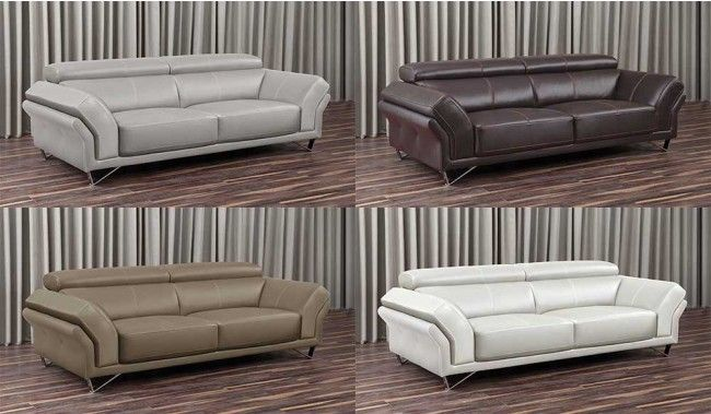 Renata Small 3 Seater Full Grain Leather And Adjustable Headrest Delux Deco Uk Luxury Sofa Sofa Set Sofa Set Designs