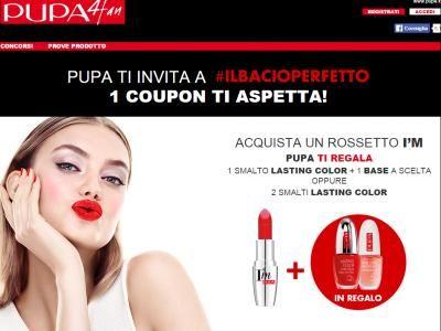 Collegati, stampa il tuo coupon Pupa e ritira gratis smalto Pupa Milano con la promozione#ilbacioperfetto