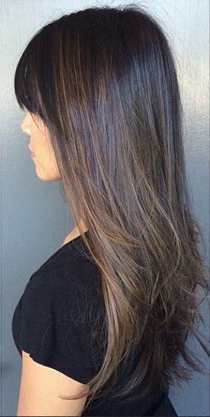 dark chocolate brunette with hazel highlights
