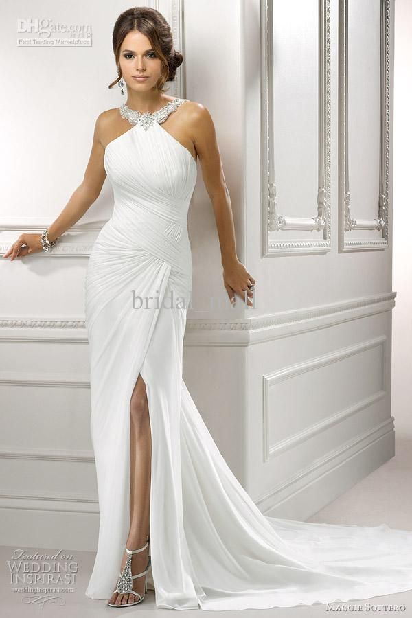 Best Alexa by Maggie Sottero is an A Line Column Chiffon Gown with Gorgeous Beaded Halter Asymmetric Pleated Interwoven Bodice Draped Sheath Skirt with Sexy