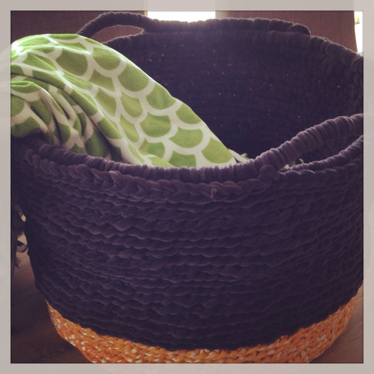 Large crocheted rug basket. DIY storage