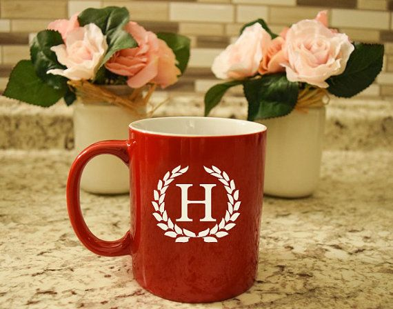 Initial Coffee Mugs Engraved Red Coffee by TimelessTreasuresUSA
