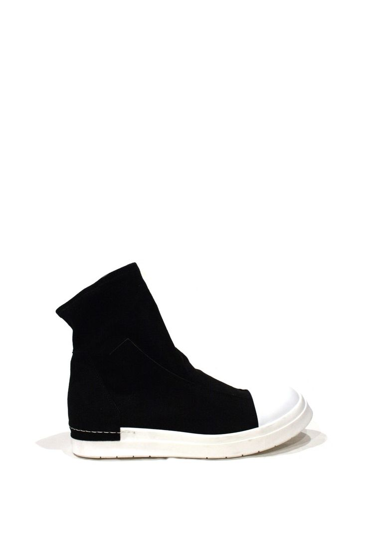Black + White Suede Leather Sock Boot