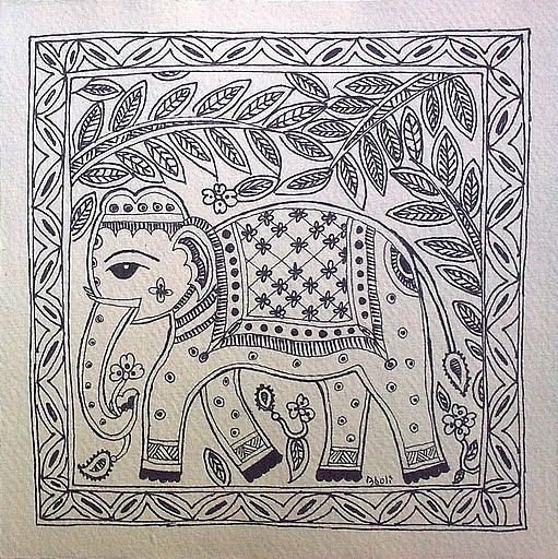 Madhubani Elephant Black White