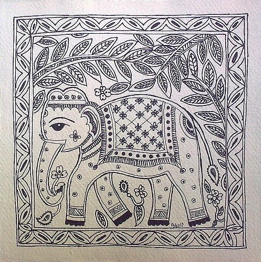 Madhubani Elephant Black White - design for my handmade greetingcards..