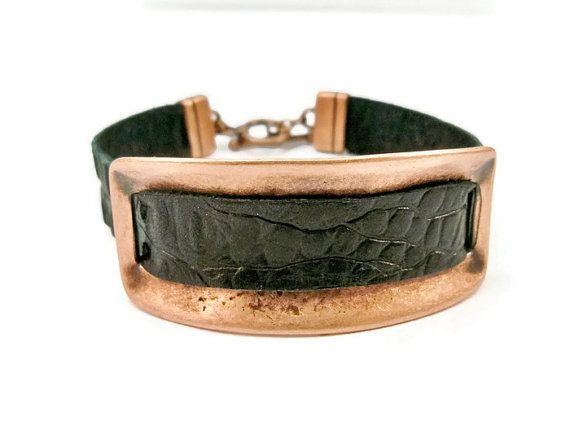 Leather and Cooper Bar Bracelet Black Leather and Copper Bar