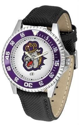 James Madison Dukes JMU NCAA Mens Leather Wrist Watch by SunTime. $68.95. 1 year limited manufacturer warranty. Officially licensed. The Competitor Watch With Poly / Leather Band is the hottest design in watches today! A functional rotating bezel is color-coordinated to compliment your favorite team logo. A durable long-lasting combination nylon/leather strap together with a date calendar round out this best-selling timepiece.This watch comes with a 3 year limi...
