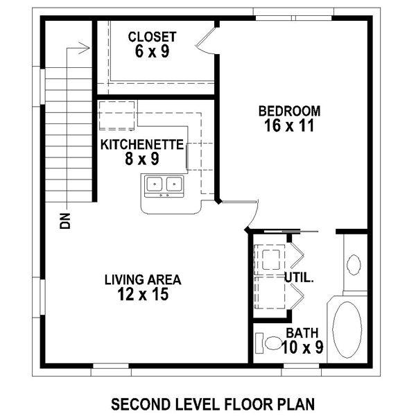 superior small garage apartment plans #5: Second Floor Plan of Garage Plan 47102