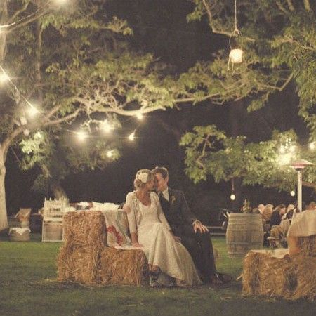 Wedding Reception Ideas | Blog: Backyard Wedding Ideas Inspiration Board........ love the pic..the lighting and the seating
