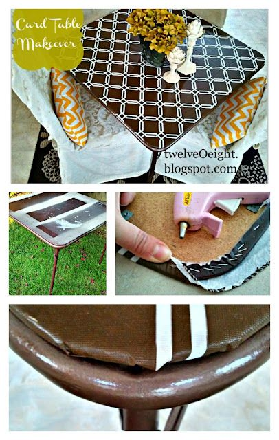 Paint a card table via twelve-O-eight Card table collage