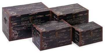 Vintage French Black Waldon Trunks - Set of 4 - transitional - Storage And Organization - Pizzazz! Home Decor, LLC