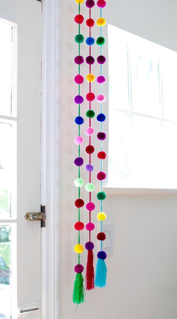 Handmade Bright Colored Pom Pom Garland / Mexican Decor /Ethnic / Boho / Tribal / Home Decor/ Pompom / Tassel / Mexican Decor