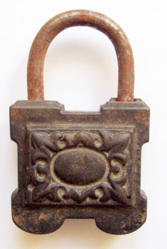 Antique Padlock 150 years old SpanishCastilian by mikimartinez, $45.00