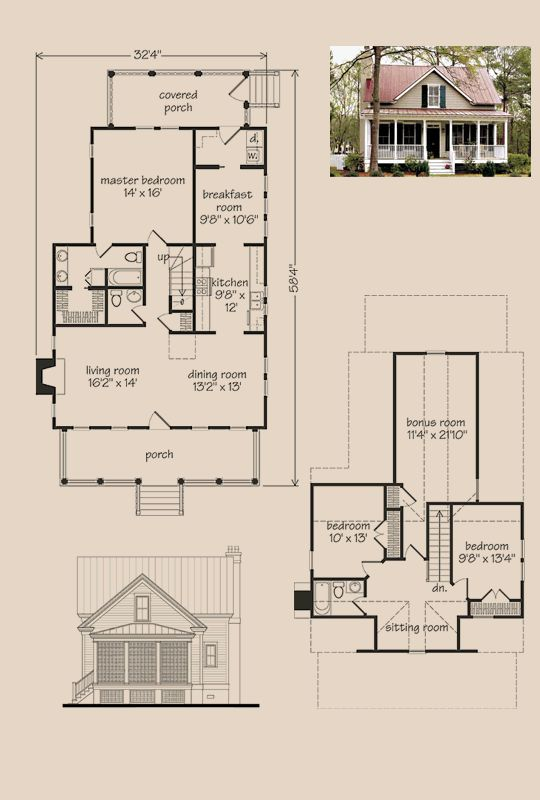 Coosaw River Cottage Floorplans Exteriors Plans